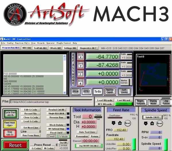 внешний вид программы mach3
