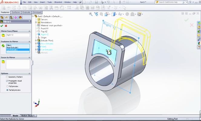 интерфейс программы solidworks