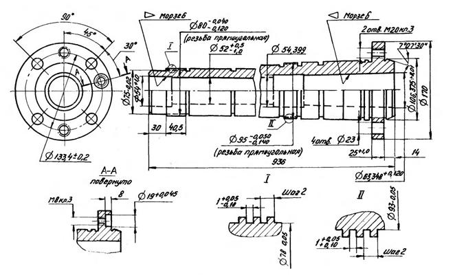 Шпиндель, размеры присоединений станка 16к25