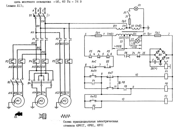 электрическая схема станок 6р11 и 6р81