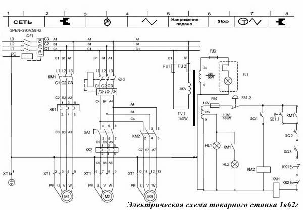 Электрическая схема токарного станка 1в62г