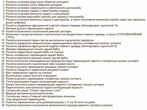 Перечень органов управления токарно-винторезного станка 1В62Г