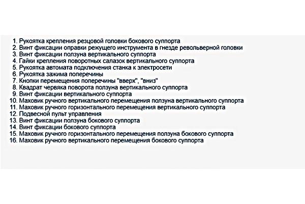 перечень органов управления станка 1512