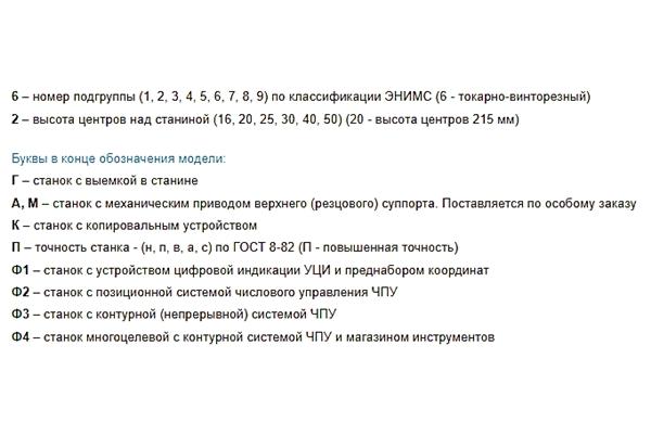 основные обозначения букв станка 1в62г