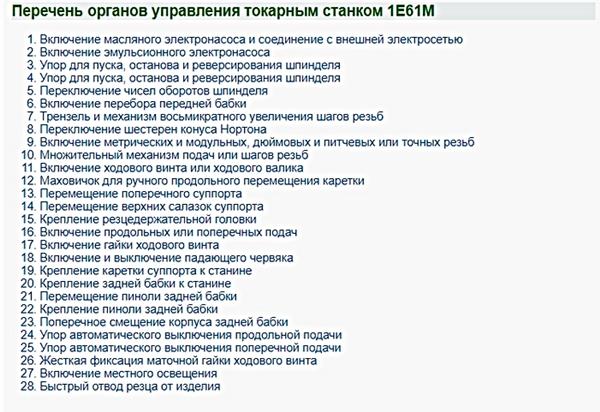 Перечень органов управления токарным станком 1Е61М
