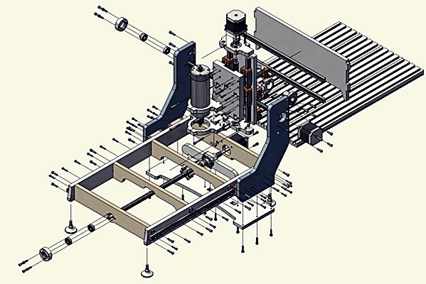 схематическое изображение конструкции фрезера чпу
