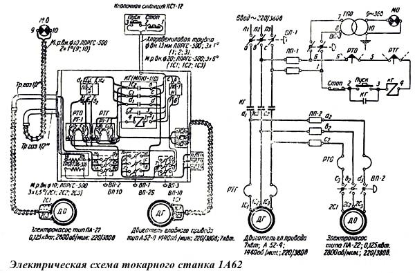 Электрическая схема токарного станка 1А62