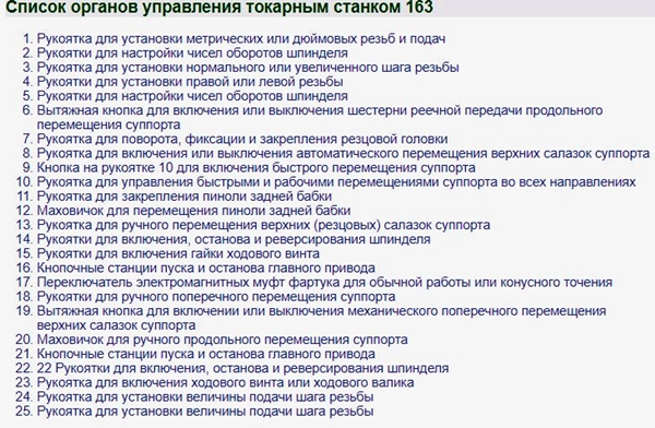 Список органов управления токарным станком 163