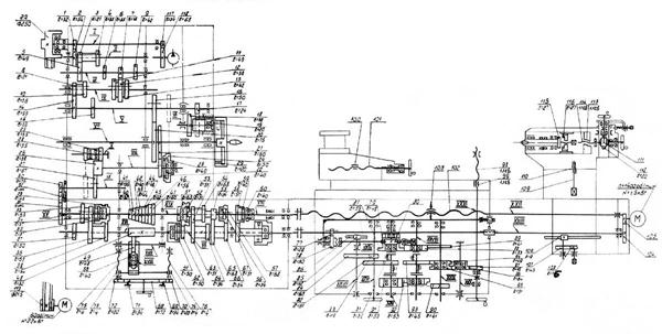 Кинематическая схема токарно-винторезного станка 165