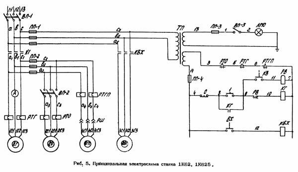 Электрическая схема токарного станка 1к625