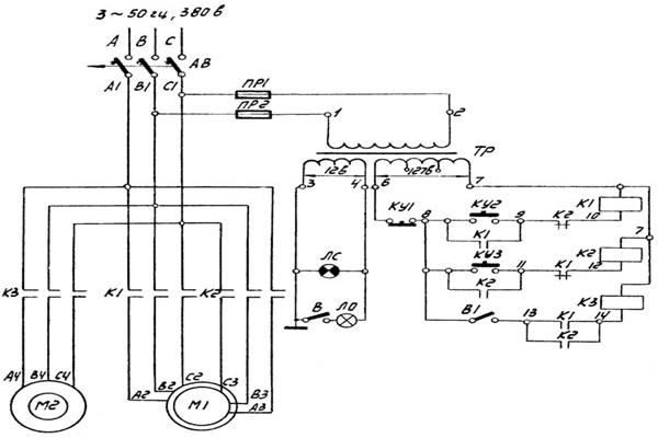 Электрическая схема станка ОФ 55