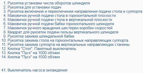 Перечень органов управления станком ОФ 55