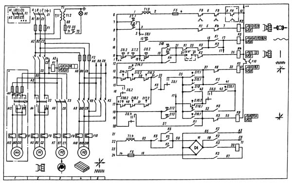 Электрическая схема станка 6р12