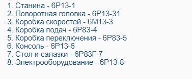 Перечень составных частей консольно-фрезерного станка 6Р13