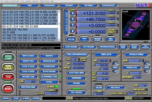 программа mach3 на экране