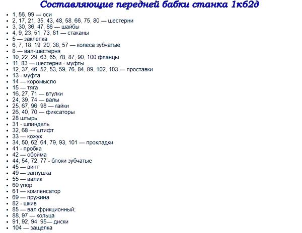 основные составляющие токарного станка  1к62д