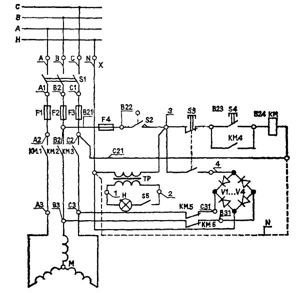 Схема электрическая принципиальная токарного деревообрабатывающего станка СТД-120М