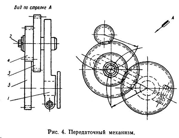 Передаточный механизм станка ТВШ-3