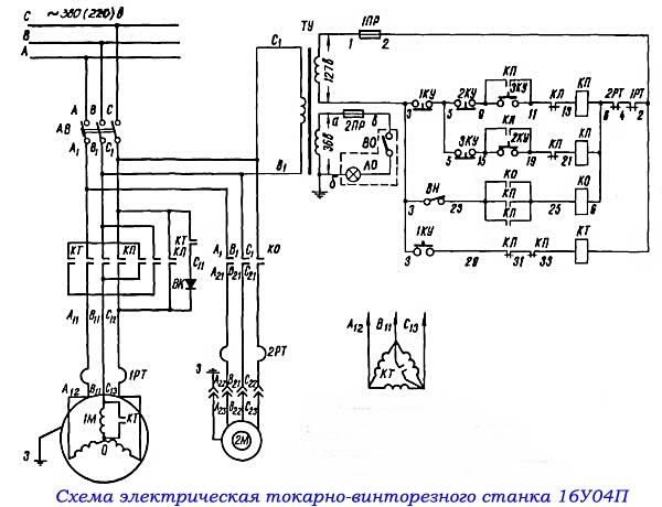 электрическая схема токарного станка 16у04п