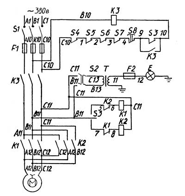 электрическая схема токарного станка тв 7