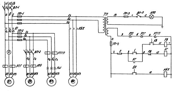 Электрическая схема Токарно винторезный станок