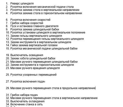 Перечень органов управления консольно-фрезерным станком 676П